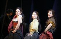 CARMEN  by Bizet  conductor: Antonio Pappano  director: Francesca Zambello ~centre, l-r: Anna Caterina Antonacci (Carmen), Elena Xanthoudakis (Frasquita), Viktoria Vizin (Mercedes)~The Royal Opera, Co...