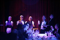 THE CLASS CLUB,Upper Class dining area - l-r: Janet Fairlie, Sarah Whalen, Simone Sauphanor, Russell Ablewhite, Christopher Barr,Duckie / BITE:06 / The Pit, Barbican Centre, London EC2        18/12/20...