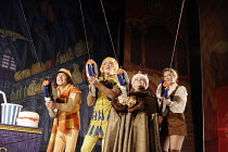 DICK WHITTINGTON AND HIS CAT   written by Mark Ravenhill   director: Edward Hall~l-r: Danny Worters (Totally Lazy Jack), Roger Lloyd Pack (Sarah the Cook),Debbie Chazen (Fairy BowBells), Summer Strall...