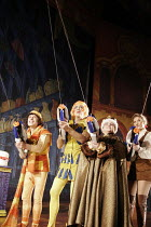 DICK WHITTINGTON AND HIS CAT   ~written by Mark Ravenhill   director: Edward Hall~l-r: Danny Worters (Totally Lazy Jack), Roger Lloyd Pack (Sarah the Cook),~Debbie Chazen (Fairy BowBells), Summer Stra...
