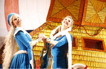 DICK WHITTINGTON AND HIS CAT   written by Mark Ravenhill   director: Edward Hall~l-r: Caroline Sheen (Alice Fitzwarren), Summer Strallen (Dick Whittington)~BITE:06 / Barbican Theatre, London EC2...