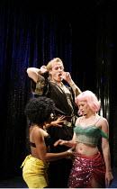 DON JUAN IN SOHO   by Patrick Marber   after Moliere   director: Michael Grandage,l-r: Seroca Davis (Ruby), Rhys Ifans (Don Juan), Jessica Brooks (Dahla),Donmar Warehouse / London WC2...