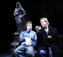 DON JUAN IN SOHO   by Patrick Marber   after Moli�re   director: Michael Grandage,Don Juan offers drugs to Stan - l-r: Stephen Wight (Stan), Rhys Ifans (Don Juan),Donmar Warehouse / London WC2...