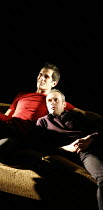 DRUNK ENOUGH TO SAY I LOVE YOU?   ,by Caryl Churchill   director: James Macdonald,l-r: Ty Burrell (Sam), Stephen Dillane (Jack),Jerwood Theatre Downstairs / Royal Court Theatre, London SW1     22/11/2...