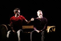 DRUNK ENOUGH TO SAY I LOVE YOU?   by Caryl Churchill   director: James Macdonald,Sam offers Jack a substance/stimulant - l-r: Ty Burrell (Sam), Stephen Dillane (Jack),Jerwood Theatre Downstairs / Roya...