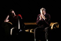 DRUNK ENOUGH TO SAY I LOVE YOU?   by Caryl Churchill   director: James Macdonald,Jack takes a substance/stimulant - l-r: Ty Burrell (Sam), Stephen Dillane (Jack),Jerwood Theatre Downstairs / Royal Cou...