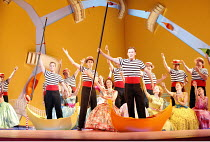 THE GONDOLIERS   music: Arthur Sullivan   libretto: W S Gilbert   conductor: Richard Balcombe   director: Martin Duncan,in yellow gondola: Toby Stafford-Allen (Giuseppe Palmieri)   in orange gondola:...