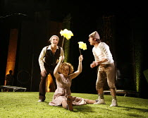 WATERSHIP DOWN   based on the book by Richard Adams   adapted by Rona Munro   directed and designed by Melly Still,l-r: Matthew Burgess (Hazel), Victoria Mosely (Thethutninnang), Joseph Traynor (Fiver...