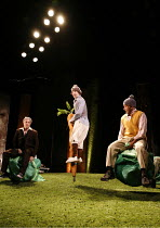 WATERSHIP DOWN   based on the book by Richard Adams   ,adapted by Rona Munro   directed and designed by Melly Still,l-r: Matthew Burgess (Hazel), Richard Simons (Pipkin), Jim Findley (Blackberry),Lyri...