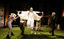 WATERSHIP DOWN   based on the book by Richard Adams   adapted by Rona Munro   directed and designed by Melly Still,front l-r: Mattie Houghton (Nelthilta), Richard Simons (Kee-Har), Matthew Burgess (Ha...