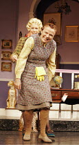 'ACORN ANTIQUES-THE MUSICAL!' (book/music/lyrics: Victoria Wood   director: Trevor Nunn),(rear) Celia Imrie (Miss Babs),  Julie Walters (Mrs Overall),Theatre Royal Haymarket, London SW1...