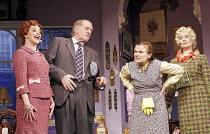 'ACORN ANTIQUES-THE MUSICAL!' (book/music/lyrics: Victoria Wood   director: Trevor Nunn),l-r: Sally Ann Triplett (Miss Berta), Duncan Preston (Mr Clifford), Julie Walters (Mrs Overall), Celia Imrie (M...
