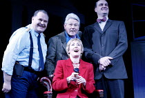 'ANYONE CAN WHISTLE' (Laurents/Sondheim)~l-r: Aaron Shirley (Magruder), James Smillie (Shub), Paula Wilcox (Cora), Mark Heenhan (Cooley)~The Gryphon / Bridewell Theatre, London EC4              08/01/...