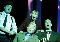 'ANYONE CAN WHISTLE' (Laurents/Sondheim)~l-r: Aaron Shirley (Magruder), Paula Wilcox (Cora), James Smillie (Shub), Mark Heenehan (Cooley)~The Gryphon / Bridewell Theatre, London EC4              08/01...