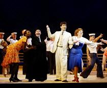 'ANYTHING GOES' (Porter/Bolton/Wodehouse) l-r: Tanya Moodie (Erma), John Guerrasio (Moonface Martin), Graham Bickley (Billy Crocker), Kim Criswell (Reno Sweeney) Grange Park Opera              14/06...