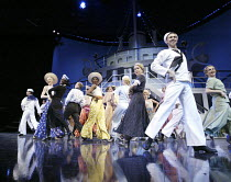 ANYTHING GOES   music & lyrics: Cole Porter   book: P.G.Wodehouse & Guy Bolton   director: Trevor Nunn,centre (in black & white dress): Susan Tracy (Evangeline Harcourt),Olivier Theatre / National The...