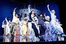 'ANYTHING GOES' (Porter/Wodehouse/Bolton/Lindsay/Crouse)~front left: John Barrowman (Billy Crocker)   centre: Sally Ann Triplett (Reno Sweeney)   in pinstripe: Martin Marquez (Moonface Martin)~Olivier...