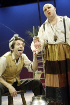 'BEASTS AND BEAUTIES' (Duffy/Still/Supple)~The Husband' - l-r: Elliot Levey (The Husband), Howard Coggins (Cow)~Bristol Old Vic       06/04/2004