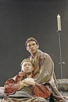 'BECKET' (Anouilh - adapted by Frederic & Stephen Raphael - director: John Caird),l-r: Jasper Britton (Henry II), Dougray Scott (Thomas à Becket),Theatre Royal Haymarket, London SW1...