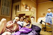 'BEDROOM FARCE' (Ayckbourn)~below: (front) Jason Watkins (Trevor),  Nigel Lindsay (Nick), Samantha Spiro (Jan)  ~above, l-r: Rose Keegan (Susannah), June Whitfield (Delia) ~Aldwych Theatre, London WC2...