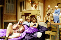 'BEDROOM FARCE' (Ayckbourn)~below: (front) Jason Watkins (Trevor),  Nigel Lindsay (Nick), Samantha Spiro (Jan)  ~above, l-r: Rose Keegan (Susannah), Richard Briers (Ernest), June Whitfield (Delia) ~Al...