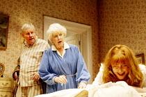 'BEDROOM FARCE' (Ayckbourn)~l-r: Richard Briers (Ernest),  June Whitfield (Delia), Rose Keegan (Susannah)~Aldwych Theatre, London WC2               08/04/2002