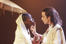 BELIEVE WHAT YOU WILL   by Philip Massinger - director: Josie Rourke,^Bithynia^: Evelyn Duah (Queen of Bithynia), Jonjo O^Neill (Prusias, King of Bithynia),Royal Shakespeare Company / Trafalgar Studio...