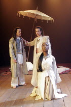 BELIEVE WHAT YOU WILL   by Philip Massinger - director: Josie Rourke,^Bithynia^ - l-r: Peter Bramhill (Philoxenus), Jonjo O^Neill (Prusias, King of Bithynia), Evelyn Duah (Queen of Bithynia),Royal Sha...