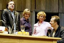'BENEFACTORS' (Frayn)~l-r: Neil Pearson (Colin), Sylvestra Le Touzel (Jane), Emma Chambers (Sheila), Aden Gillett (David)~Albery Theatre, London WC2                  25/06/2002