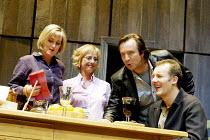 'BENEFACTORS' (Frayn)~l-r: Sylvestra Le Touzel (Jane), Emma Chambers (Sheila), Neil Pearson (Colin), Aden Gillett (David)~Albery Theatre, London WC2                  25/06/2002