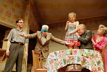 THE BIRTHDAY PARTY  by Harold Pinter ~l-r: Steven Pacey (Stanley), Nigel Terry (McCann), Lisa Dulson (Lulu), Timothy West (Goldberg), Prunella Scales (Meg) Piccadilly Theatre, London W1  26/04/1999~(c...