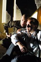 'BLASTED' (Kane)~l-r: Tom Jordan Murphy (Soldier), Neil Dudgeon (Ian)~Royal Court/Jerwood Theatre Downstairs  London SW1  03/04/2001