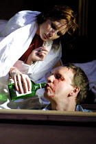 'BLASTED' (Kane)~Kelly Reilly (Cate), Neil Dudgeon (Ian)~Royal Court/Jerwood Theatre Downstairs  London SW1  03/04/2001