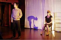 'BLOOD WEDDING' (Lorca, in a new version by Tanya Ronder   director: Rufus Norris),l-r: Gael Garcia Bernal (Leonardo), (behind screen) Lyndsey Marshal (Wife), Sue Roderick (Mother-in-law) ,Almeida The...