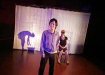 'BLOOD WEDDING' (Lorca, in a new version by Tanya Ronder   director: Rufus Norris),l-r: (behind screen) Lyndsey Marshal (Wife), Gael Garcia Bernal (Leonardo), Sue Roderick (Mother-in-law) ,Almeida The...
