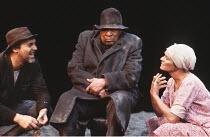 BOESMAN AND LENA   by Athol Fugard   director: Clare Davidson,l-r: Stuart Wilson (Boesman, Tommy Buson (Outa), Janet Suzman (Lena),Hampstead Theatre, London NW3       22/02/1984,