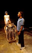 'BREATH, BOOM' (Corthron) on a picnic - l-r: Marsha Thomason (Amy), Kim Oliver (Jo), Diane Parish (Prix) Royal Court/Jerwood Theatre Upstairs  24/02/2000