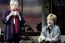 THE BREATH OF LIFE  by  David Hare  set design: William Dudley  costumes: Jenny Beavan  lighting: Hugh Vanstone  director: Howard Davies ~l-r: Judi Dench (Frances Beale), Maggie Smith (Madeleine Palme...