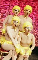 'C'EST BARBICAN!',rear: Miss High Leg Kick, Christopher Green   front: Ursula Martinez, Kazuko Hohki, ,Duckie / The Pit - Barbican Theatre, London EC2         14/12/2004,