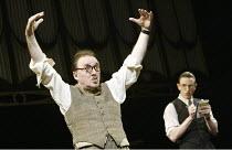 'CALICO' (Michael Hastings - director: Edward Hall) l-r: Dermot Crowley (James Joyce), Daniel Weyman (Samuel Beckett) Duke of York's Theatre, London WC2   03/03/2004