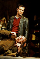 THE CARETAKER  by Harold Pinter design: Rob Howell lighting: Hugh Vanstone director: Patrick Marber ~~(top) Rupert Graves (Mick), Michael Gambon (Davies)~Comedy Theatre, London SW1 15/11/2000 ~(c) Don...