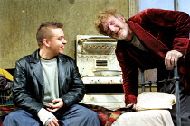 'THE CARETAKER' (Pinter)~l-r: Lee Boardman (Mick), Malcolm Storry (Davies)~English Touring Theatre/Oxford Playhouse      24/10/2001