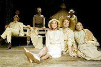 'THE CHERRY ORCHARD' (Chekhov - director: Dominic Dromgoole)~front, l-r: Jemma Powell (Anya), Geraldine James (Lyubov Ranevskaya), Mairead McKinley (Varya) with (rear left) Brian Protheroe (Leonid Gae...