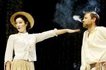 'THE CHERRY ORCHARD' (Chekhov - director: Dominic Dromgoole)~Lucy Gaskell (Dunyasha), Francis Lee (Yasha)~Oxford Stage Company / Riverside Studios, London W6                    11/06/2003