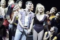 'A CHORUS LINE' (Bennett/Kirkwood/Dante/Hamlisch/Kleban - director: Nikolai Foster)~front, l-r: Josefina Gabrielle (Cassie), Andrew Spillett (Al #17), Rachael Wooding (Kristine #10)~Crucible Theatre,...