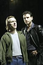 'A CHORUS LINE' (Bennett/Kirkwood/Dante/Hamlisch/Kleban - director: Nikolai Foster)~l-r: Daniel Crossley (Paul #45), Jason Durr (Zach)~Crucible Theatre, Sheffield   England    02/12/2003
