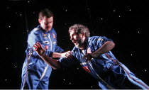 'THE COSMONAUT'S LAST MESSAGE TO THE WOMAN HE ONCE LOVED IN THE FORMER SOVIET UNION' (David Greig - director: Tim Supple),the cosmonauts, l-r: Paul Higgins (Oleg), Sean Campion (Casmir)   (shot throug...