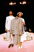'LE COSTUME' (Can Themba)  directed by Peter Brook,Hubert Kounde (Philemon), Tanya Moodie (Matilda), with 'le costume',LIFT/Young Vic Theatre, London SE1  25/01/2001,