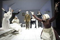 THE CRUCIBLE  by Arthur Miller  design: Lez Brotherston  lighting: Paul Pyant  director: Anna Mackmin ~l-r: (on bed) Bryony Hannah (Betty Parris), Michael Gould (Reverend Hale), Ruby Turner (Tituba),...