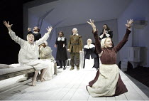THE CRUCIBLE  by Arthur Miller  design: Lez Brotherston  lighting: Paul Pyant  director: Anna Mackmin ~left, on bed: Bryony Hannah (Betty Parris)   right: Sinead Matthews (Abigail Williams)~Crucible T...